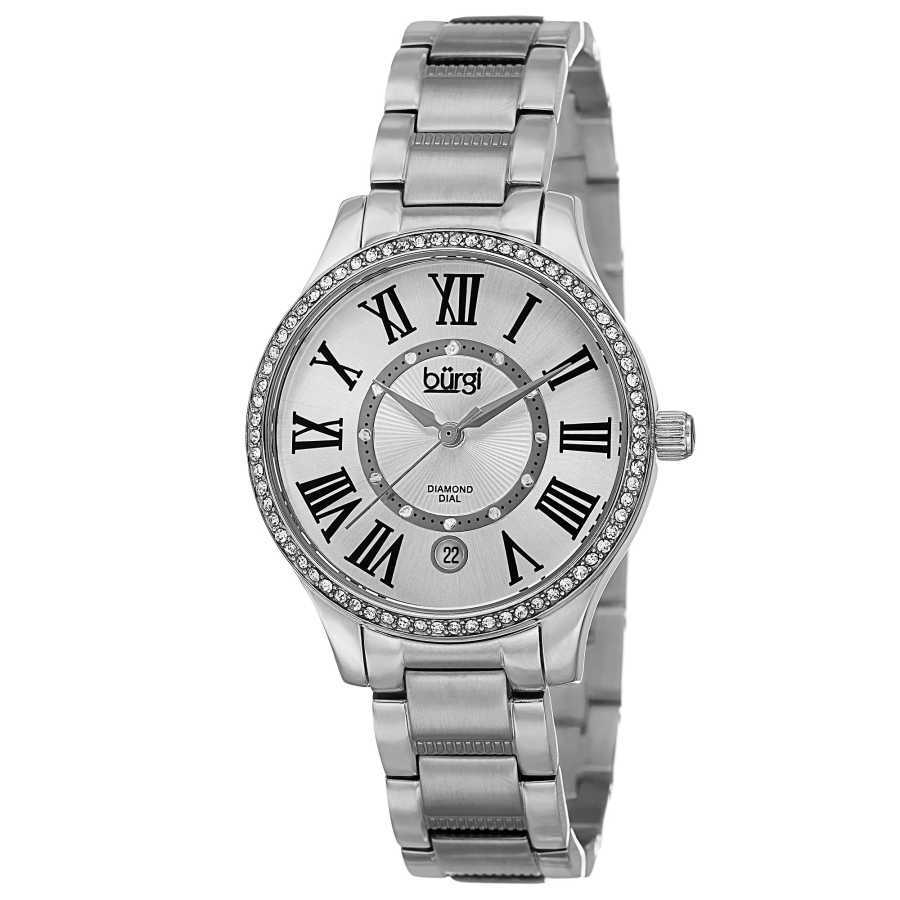 Burgi Women's Quartz Diamond Dial Stainless Steel Bracelet Watch BUR090SS