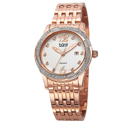 Burgi - Burgi Women's Quartz Diamond Dial Stainless Steel Bracelet Watch BUR102RG