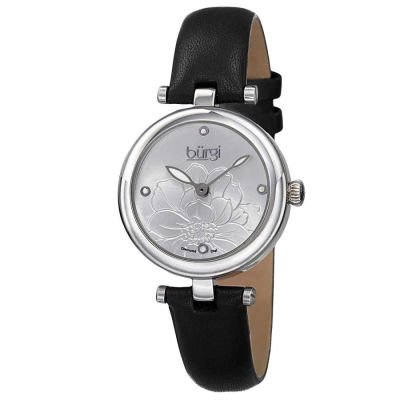 Burgi - Burgi Women's Quartz Diamond Markers Etched Flower Dial Leather Strap Watch BUR128SSB