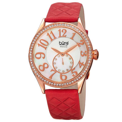 Burgi - Burgi Women's red leather strap watch with a rose case and crystal bezel. Subdial with 12 diamonds, large Arabic numeral markers. BUR141RD