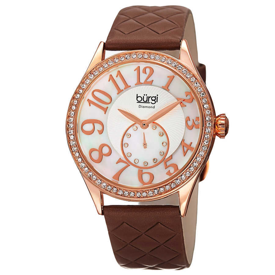 Burgi Women's red leather strap watch with a rose case and crystal bezel. Subdial with 12 diamonds, large Arabic numeral markers. BUR141RGBR