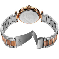 Burgi Women's Rosetone Mother of Pearl Dial Chronograph Stainless Steel Bracelet Watch BUR080RG - Thumbnail