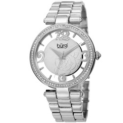 Burgi Women's silver-tone bracelet watch with a Swarovski crystal filled bezel. Flower design on dial, and transparent outer dial. BUR148SS - Thumbnail