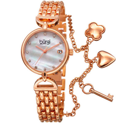 Burgi - Burgi Women's Swarovski Crystal Mother of Pearl Charm Bracelet Watch BUR172RG