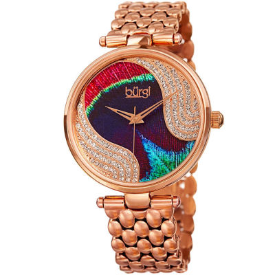 Burgi - Burgi Women's Swarovski Crystal Peacock Feather Pattern Bracelet Watch BUR162RG