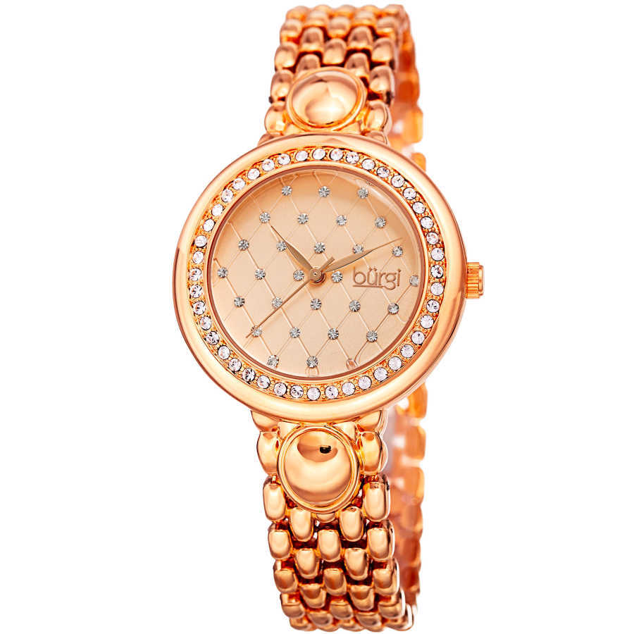 Burgi Women's Swarovski Crystal Quilted Pattern Bracelet Watch BUR170RG