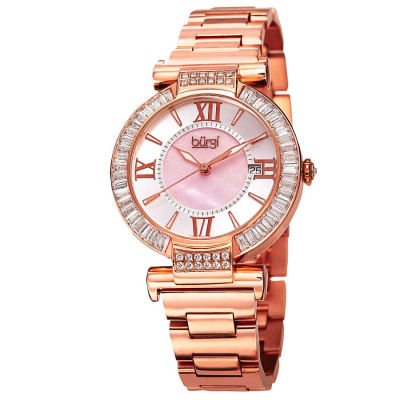 Burgi - Burgi Women's Swiss Quartz Baguette Bezel Stainless Steel Bracelet Watch BUR082RG