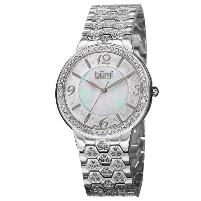 Burgi - Burgi Women's Swiss Quartz Crystal-Accented Brass Bracelet Watch BUR115SS