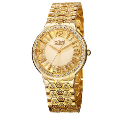 Burgi - Burgi Women's Swiss Quartz Crystal-Accented Brass Bracelet Watch BUR115YG