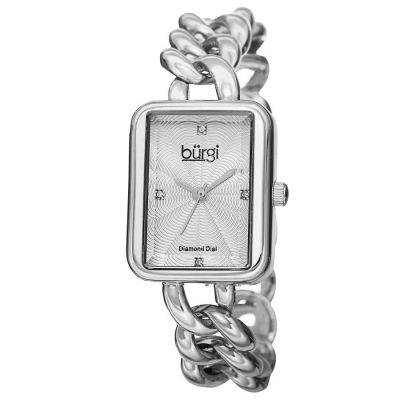 Burgi - Burgi Women's Swiss Quartz Diamond Chain Link Bracelet Watch BUR100SS