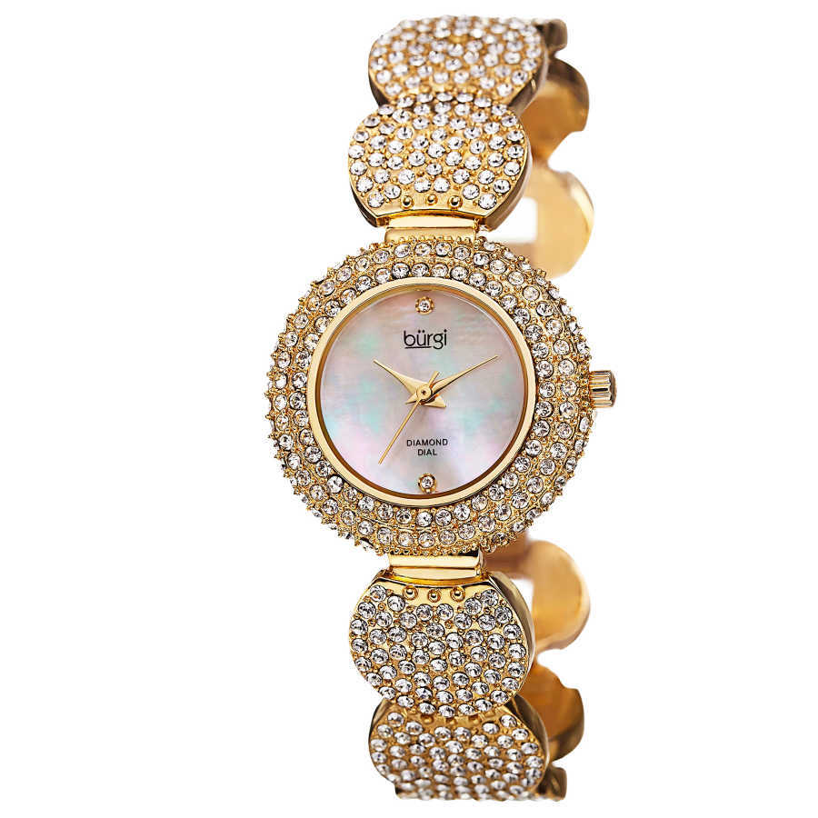 Burgi Women's Swiss Quartz Diamond Dial Crystal-Accented Bracelet Watch BUR109YG