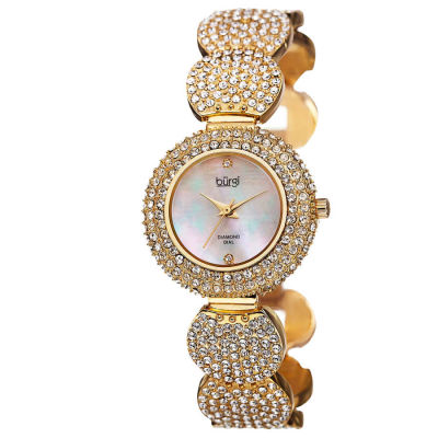 Burgi - Burgi Women's Swiss Quartz Diamond Dial Crystal-Accented Bracelet Watch BUR109YG
