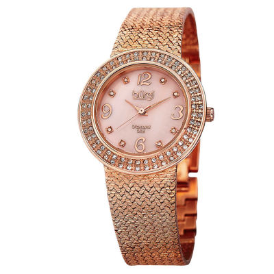 Burgi - Burgi Women's Swiss Quartz Diamond MOP Mesh Bracelet Watch BUR097RG
