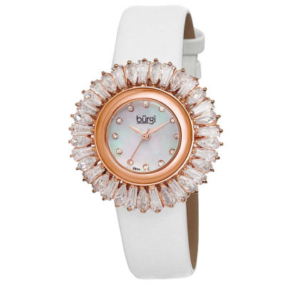 Burgi - Burgi Women's Swiss Quartz Diamond MOP Strap Watch BUR092WT