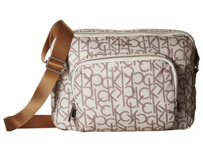 Calvin Klein - Calvin Klein Almond/Khaki Combo Nylon Cross Body Bag