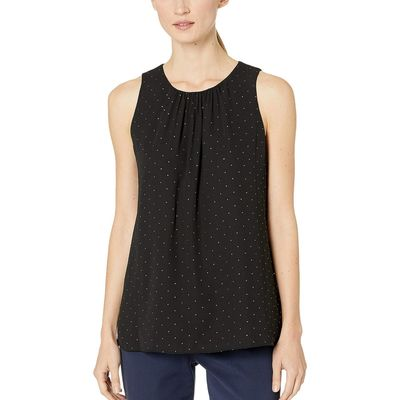 Calvin Klein - Calvin Klein Black/Gold Dotted Pleat Neck Woven Top
