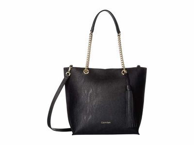 Calvin Klein - Calvin Klein Black/Gold Unlined Novelty Top Zip Tote Handbag