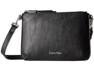 Calvin Klein - Calvin Klein Black/Grey Unlined Pebble Pvc Cross Body Bag