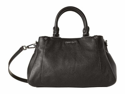 Calvin Klein - Calvin Klein Black/Silver Jackson Pebble Leather Satchel Satchel Handbag