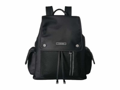 Calvin Klein - Calvin Klein Black/Silver Tali Nylon Cargo Pocket Backpack