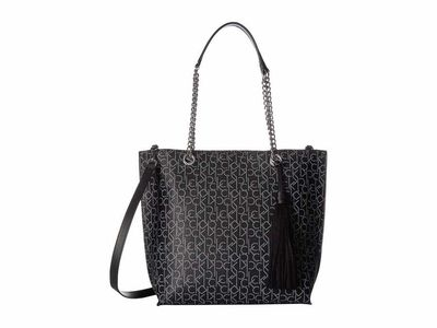 Calvin Klein - Calvin Klein Black/White Signature Top Zip Chain Tote Handbag