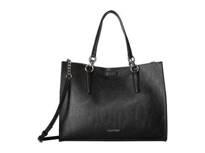 Calvin Klein - Calvin Klein Black/Grey Reversible East/West Novelty Box Tote Handbag