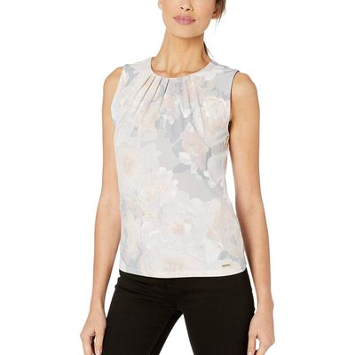 Calvin Klein - Calvin Klein Blush Multi Floral Pleat Neck Cami