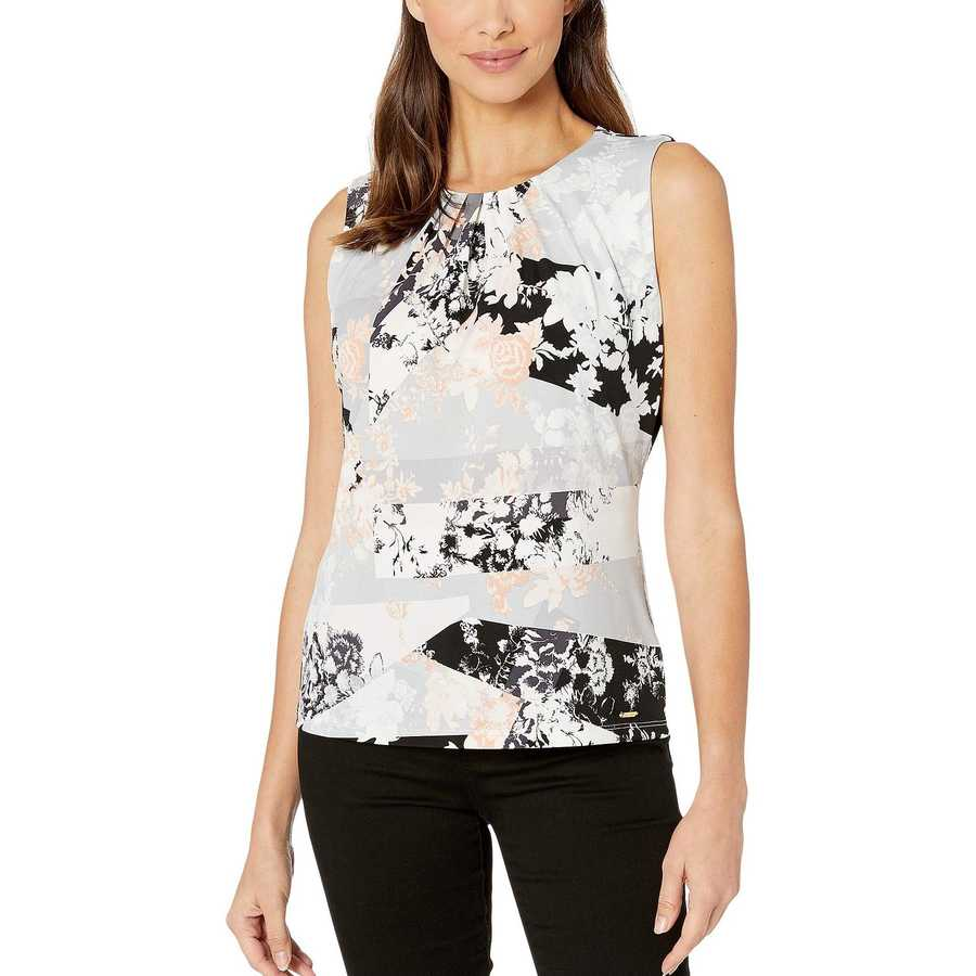 Calvin Klein Blush Multi Patchwork Pleat Neck Cami