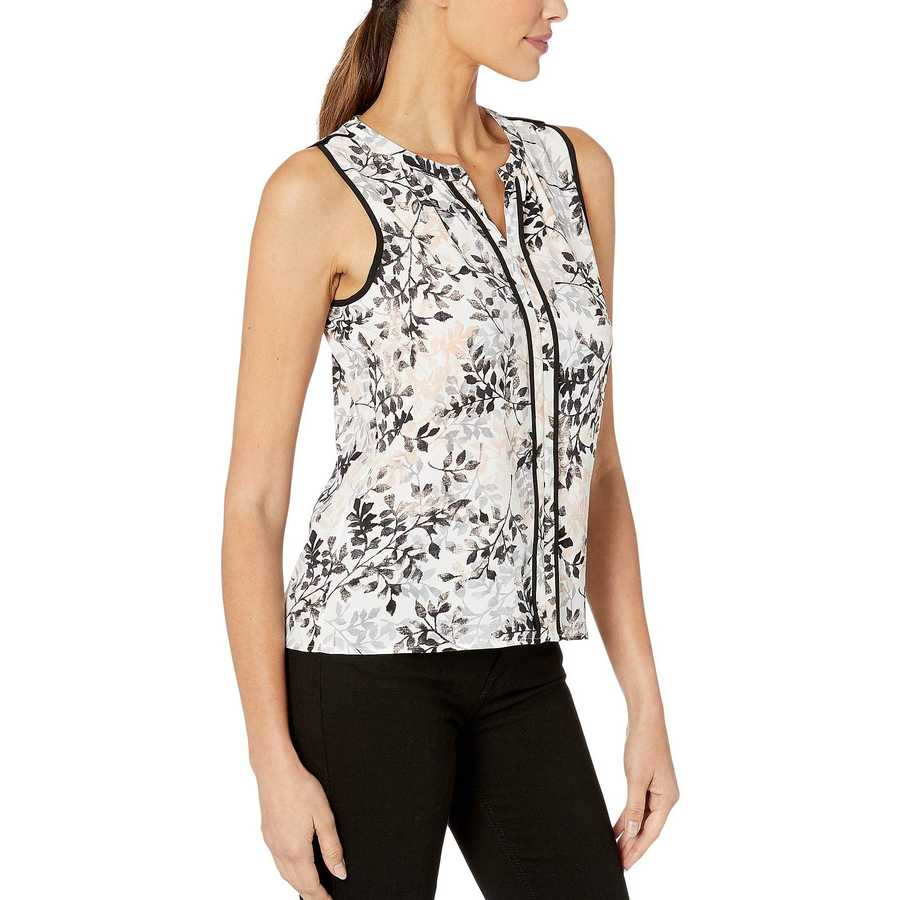 Calvin Klein Blush Multi Split V Sleeveless Piped Top