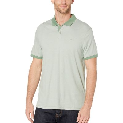 Calvin Klein - Calvin Klein Bright Moss The Liquid Touch Polo Feeder Stripe