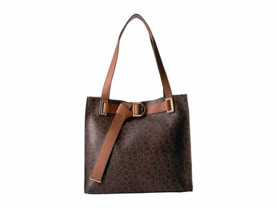Calvin Klein - Calvin Klein Brown/Khaki/Luggage Saffiano Nola North/South Monogram Tote Handbag
