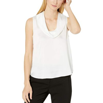 Calvin Klein - Calvin Klein Cream Cowl Neck Sleeveless Top