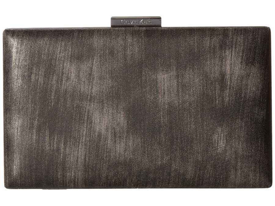 Calvin Klein Gunmetal Brushed Metallic Evening Bag Clutch Bag
