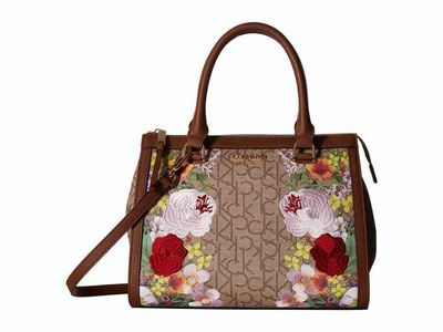 Calvin Klein - Calvin Klein Khaki/Brown/Luggage Floral Mercy Floral Embroidered Monogram Satchel Satchel Handbag