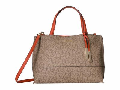 Calvin Klein - Calvin Klein Khaki/Brown/Sunset Signature East/West Key İtem Satchel Satchel Handbag