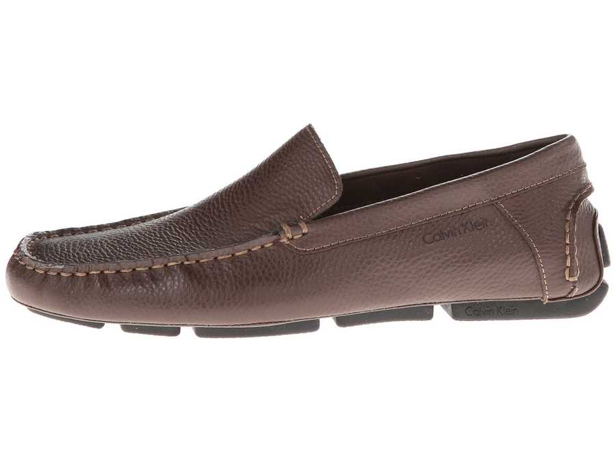 Calvin Klein Men Med Brown Tumbled Leather Menton Loafers