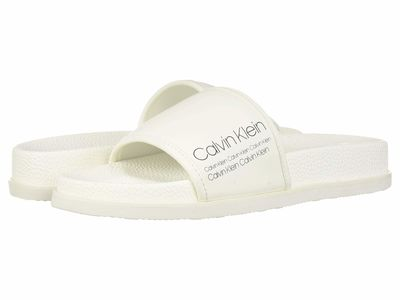 Calvin Klein - Calvin Klein Men White Rubberized Leather/İndustrial Print Mackee Active Sandals