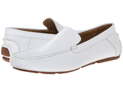 Calvin Klein - Calvin Klein Men White Tumbled Leather Menton Loafers