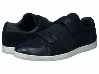 Calvin Klein - Calvin Klein Men's Dark Navy Brushed Leather Mace Lifestyle Sneakers