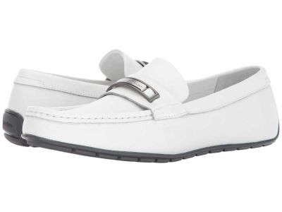 Calvin Klein - Calvin Klein Men's White Tumbled Leather Irving Loafers
