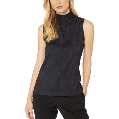 Calvin Klein - Calvin Klein Navy/Navy Jacquard Mock Neck Sleeveless Top