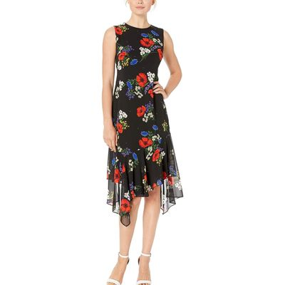Calvin Klein - Calvin Klein Red Multi Floral Print Chiffon Dress