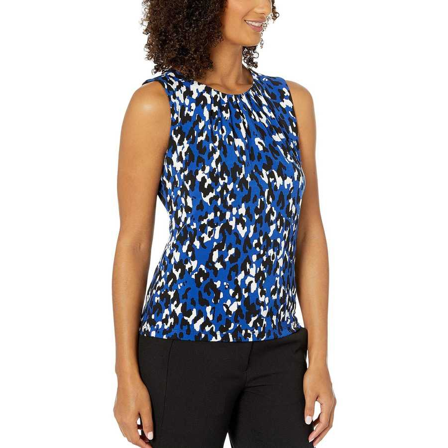 Calvin Klein Regatta Multi Animal Print Pleat Neck Cami