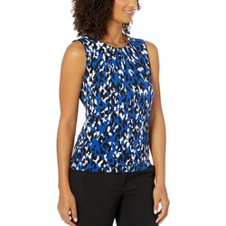 Calvin Klein Regatta Multi Animal Print Pleat Neck Cami - Thumbnail