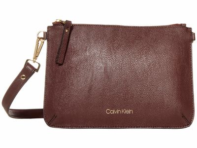 Calvin Klein - Calvin Klein Rum Raisin/Black Unlined Pebble Pvc Cross Body Bag