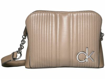 Calvin Klein - Calvin Klein Taupe Paige Quilted Lamb Novelty Chain Cross Body Bag