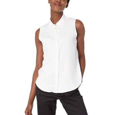 Calvin Klein - Calvin Klein White Sleeveless Button-Down Woven