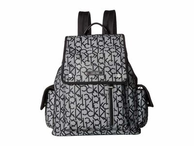 Calvin Klein - Calvin Klein White/Black Tali Nylon Cargo Pocket Backpack
