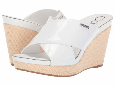 Calvin Klein - Calvin Klein Women White Patent Jacolyn Heeled Sandals