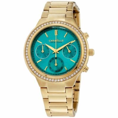 Caravelle - Caravelle Boyfriend Teal Dial Stainless Steel Ladies Watch 44L215
